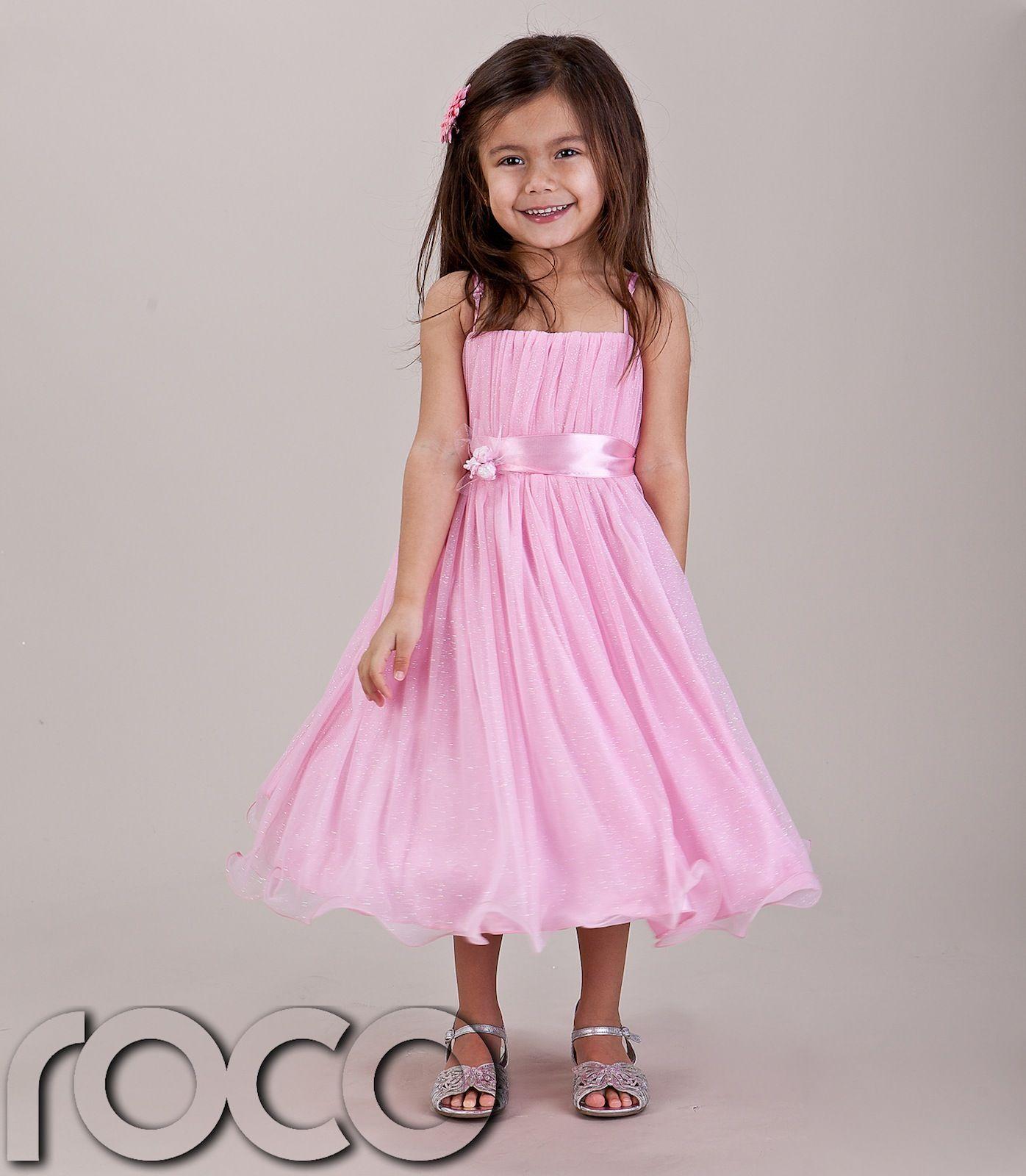 Baby Girls Pink Hoop Dress Bridesmaid Prom Wedding Flower Girls ...
