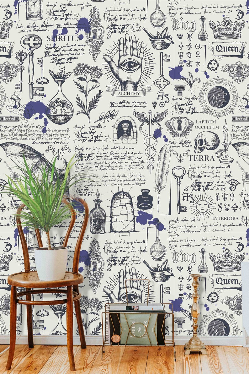 Alchemy Magic Witchcraft And Mysticism Theme Wall Covering Etsy Wallpaper Special Wallpaper Wallpaper Panels