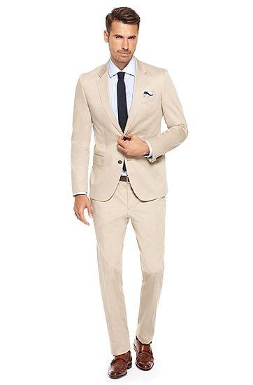 a308808b Huge/Genius' | Slim Fit, Cotton Suit, Medium Beige | wedding wear in ...