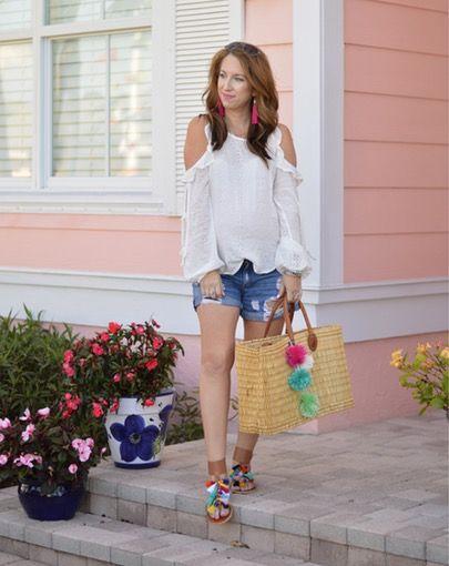 DIY pom pom bag, spring fashion, cute florida spring looks, spring looks, vacation looks