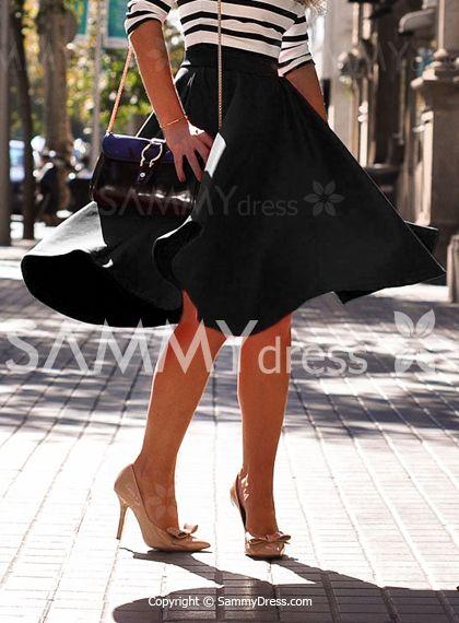Elegant Solid Color Flare Skirt For Women