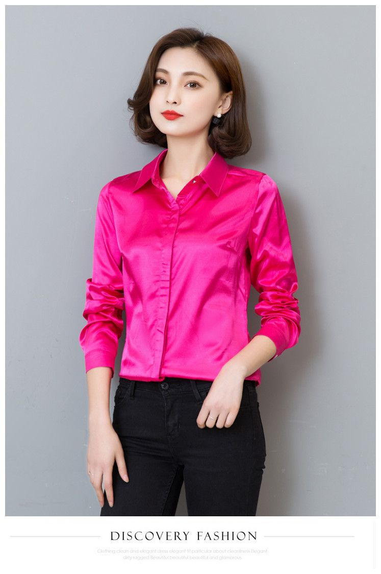 78b500b7475 Women Silk Satin Rose Beige Blouse Long Sleeve Lapel Ladies Office Work  Shirts Elegant Female Cassual