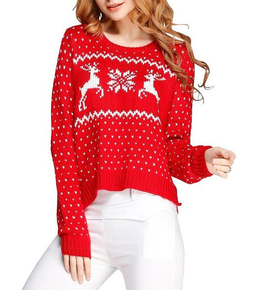 Christmas Sweaters Cute.Red Or Black Reindeer And Snowflake Short Christmas Pullover