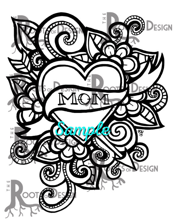 Instant Download Coloring Page Mom Tattoo Style Mother S Day Print Zentangle Inspired Doodle Art Printable Mom Coloring Pages Coloring Pages Heart Coloring Pages