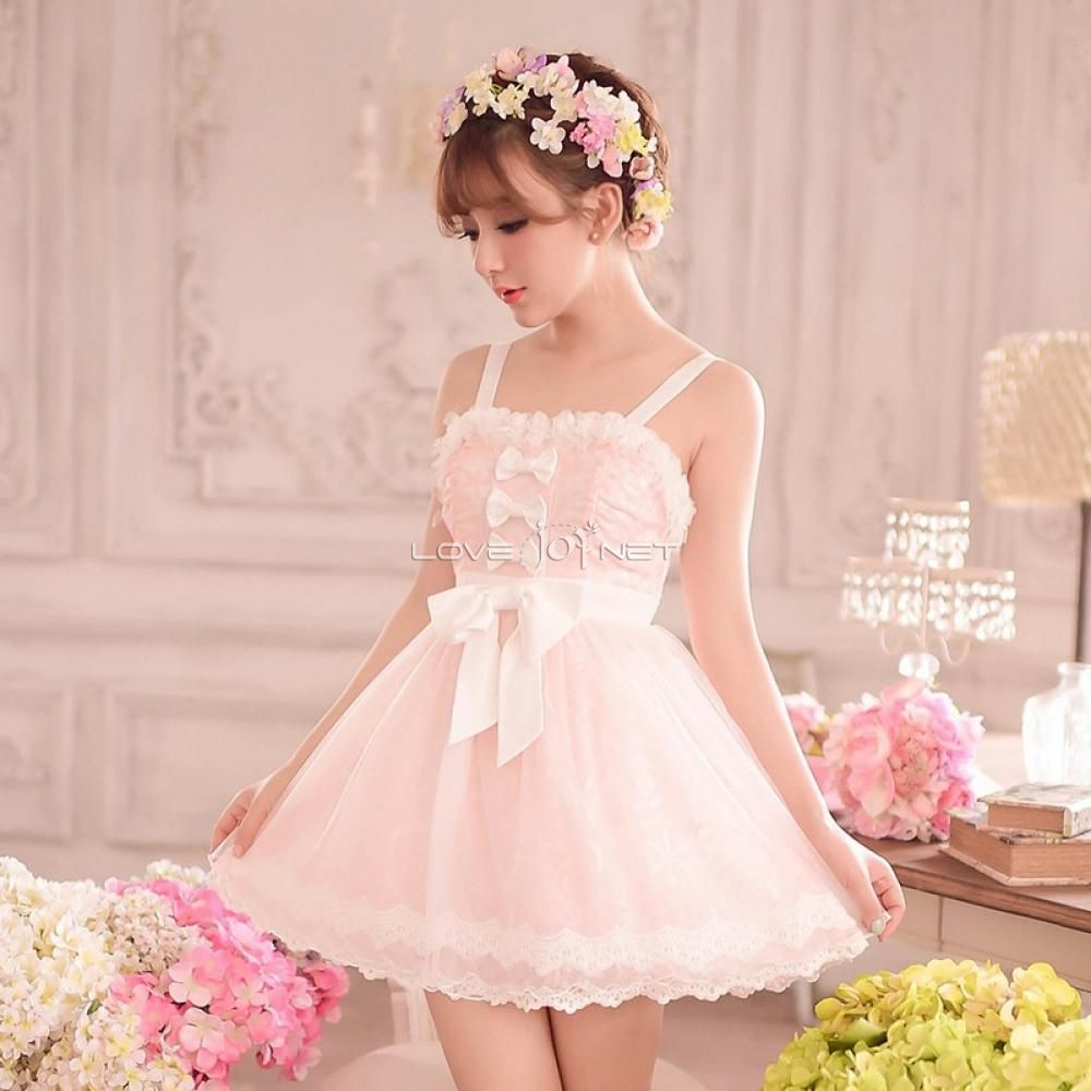 Sweet Sleeveless Lace and Gauze Pink Lolita Braces Dress   Me gustas ...