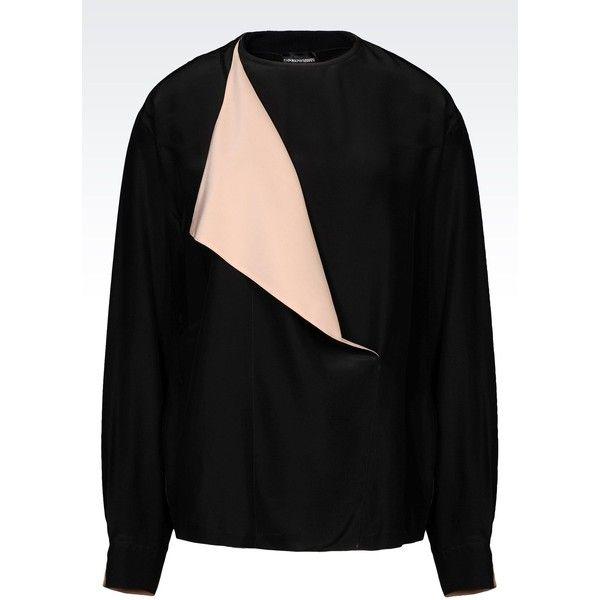 Armani Jeans Blouse (3 890 ZAR) ❤ liked on Polyvore featuring tops, blouses, black, zip top, armani jeans, rayon blouse, black blouse and black long sleeve blouse