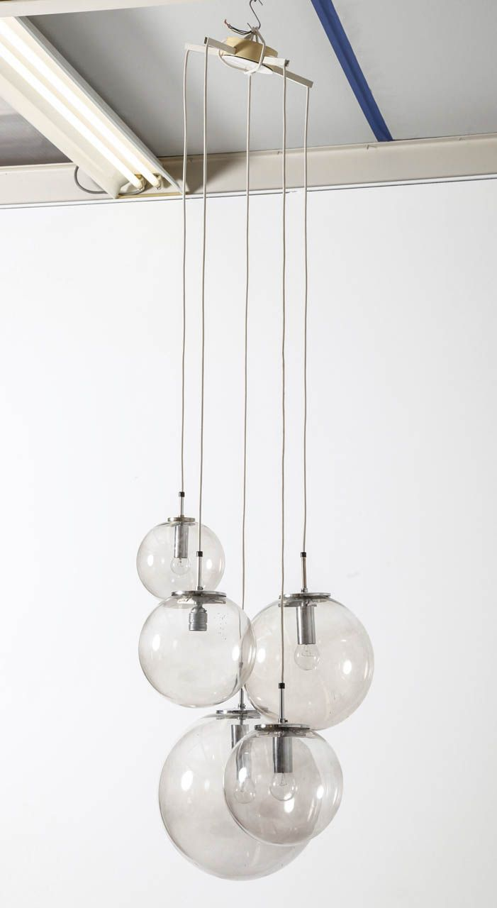 Anonymous; Chromed Metal and Glass Ceiling Light by Glashutte Limburg 1968. & Limburg Glashutte Bubble Chandelier 1960u0027s | Ceiling Metals and Glass