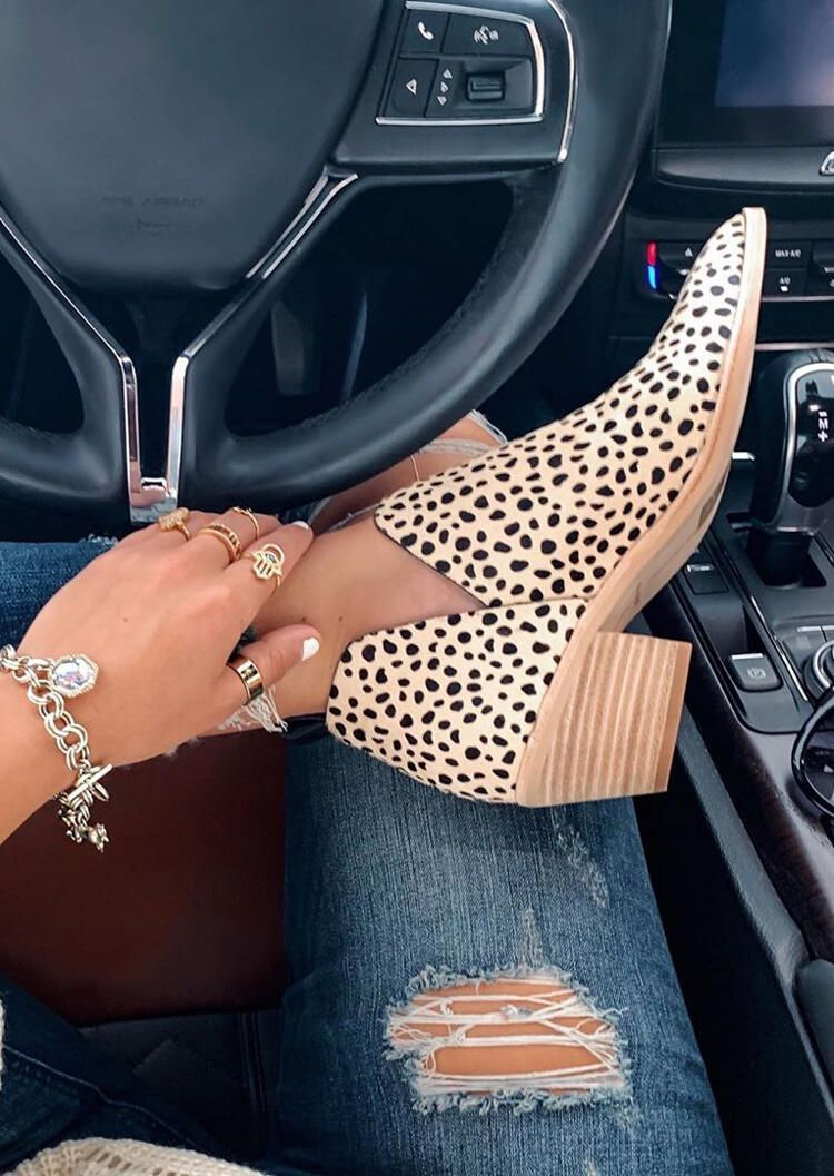 Photo of Leopard Printed Chunky Heel Pointed Toe Ankle Boots  – HiYouBox – #ankle #Boots …
