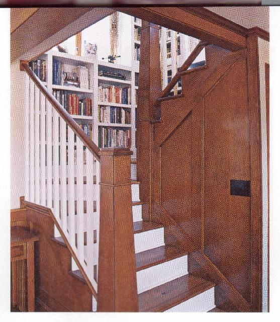 Bookcase On Stair Landing