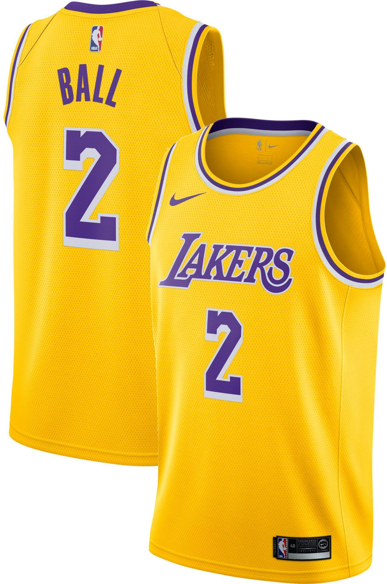 Nike Men s Los Angeles Lakers Lonzo Ball  2 Gold Dri-FIT Swingman Jersey 7059ce63c