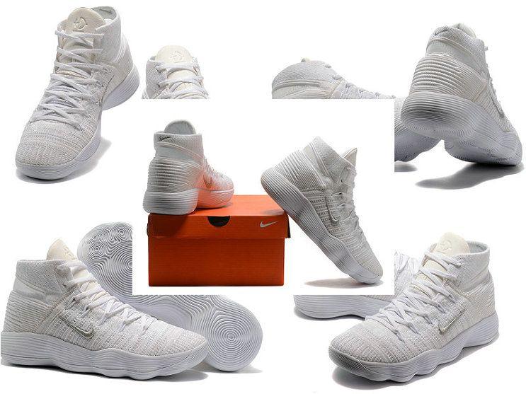 ca766b078ae6 Popular NIKE REACT HYPERDUNK 2017 FLYKNIT Triple White All White Mens  Basketball Shoes 2018 On Line