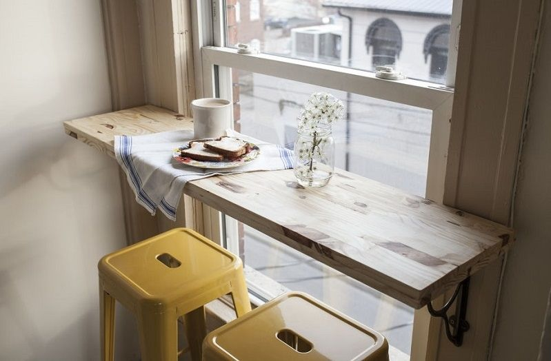 5 Ways To Create Small Space Dining Areas The Everygirl Window Seat Kitchen Apartment Kitchen Studio Apartment Decorating