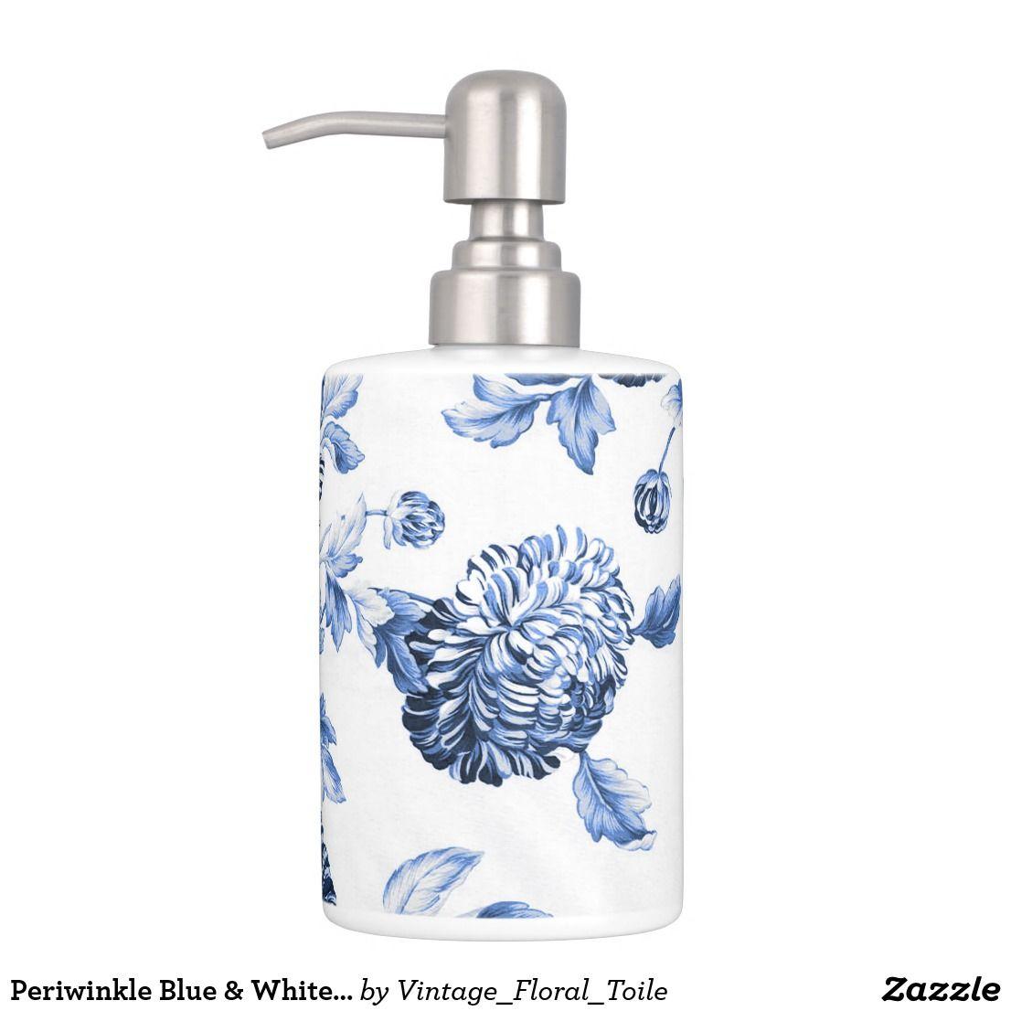 Periwinkle Blue & White Botanical Floral Toile No2 Soap Dispenser ...