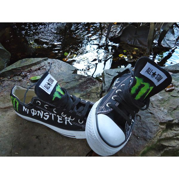 44f8449fa895 Converse Shoes - Hand Painted-Monster - Unisex mens 5 Woman s 7- Price...  ( 45) ❤ liked on Polyvore