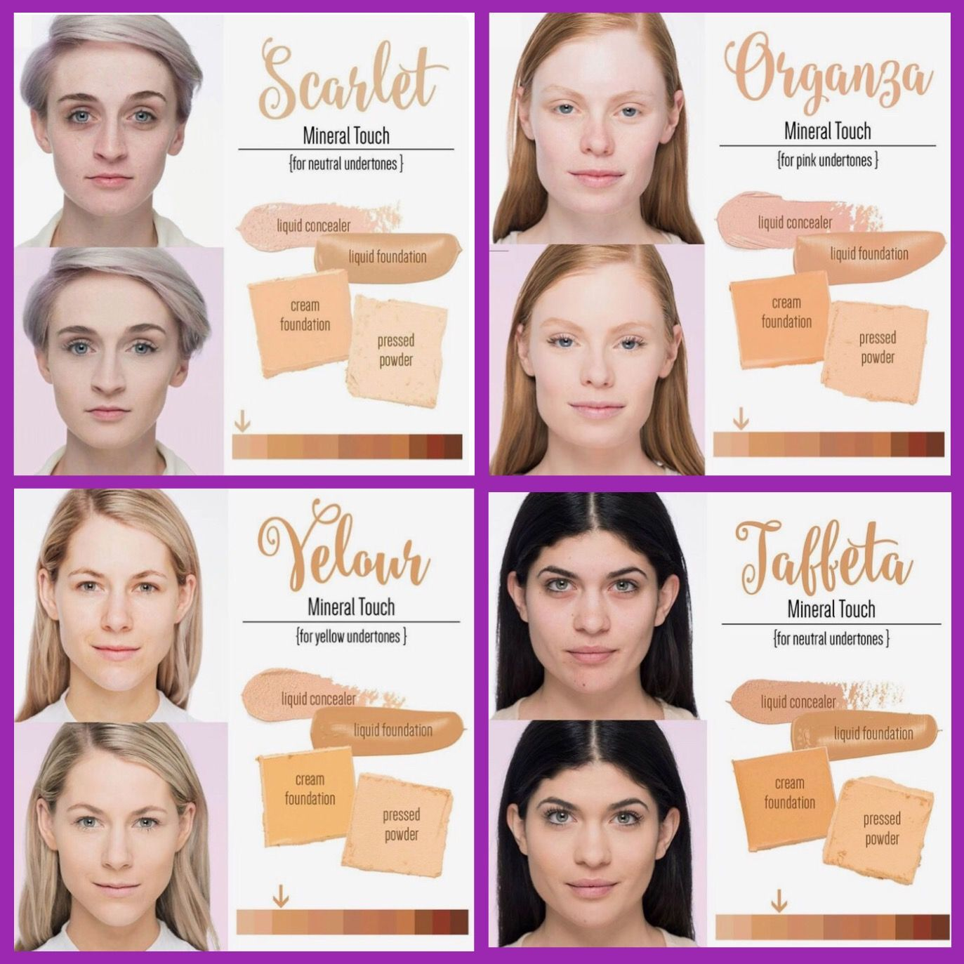 Color Chart For Our Touch Mineral Foundation Line Skin Perfecting Concealer Scarl Younique Foundation Colors Younique Foundation Younique Foundation Shades