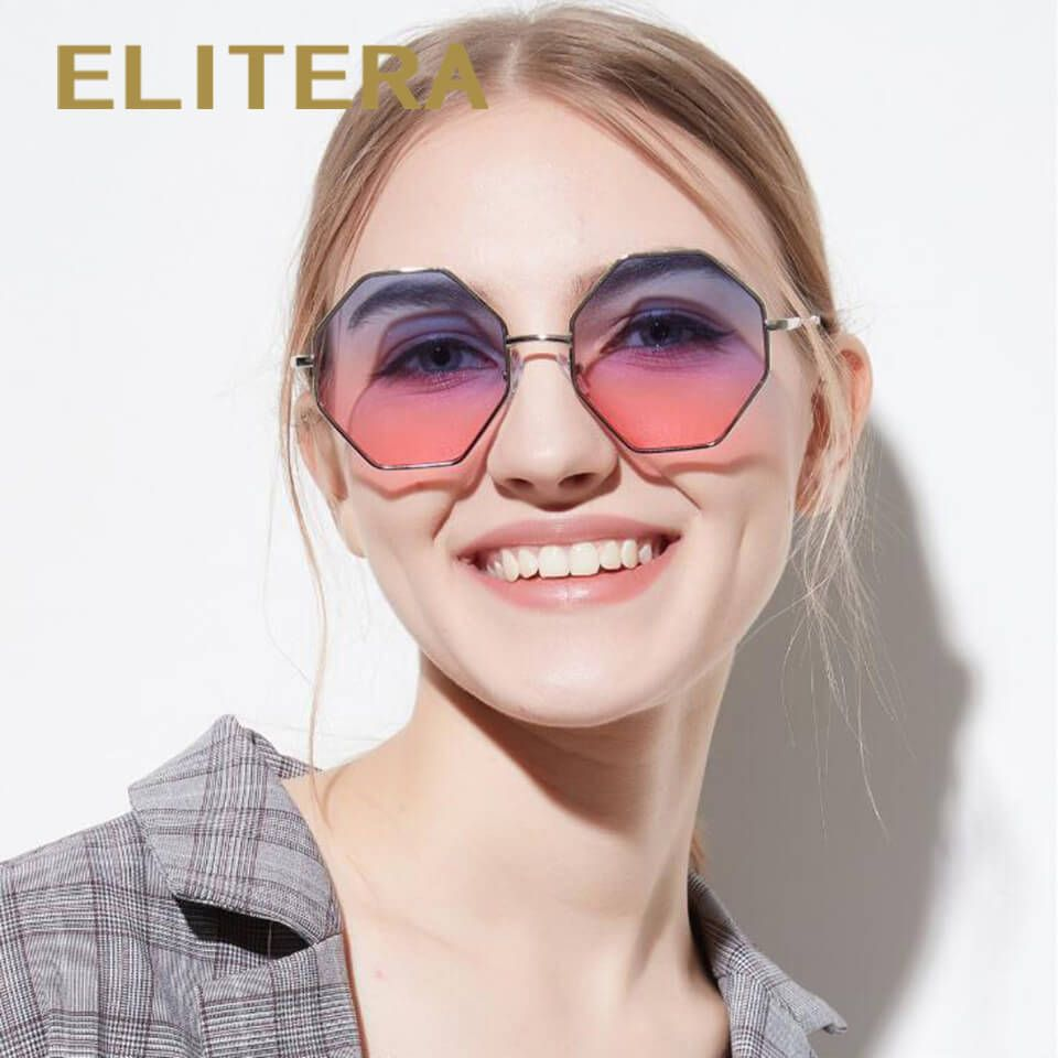 110bd702b19 ELITERA Women Sunglass Square Frame Rhombus Polygon Shape With Colored Transparent  Lens