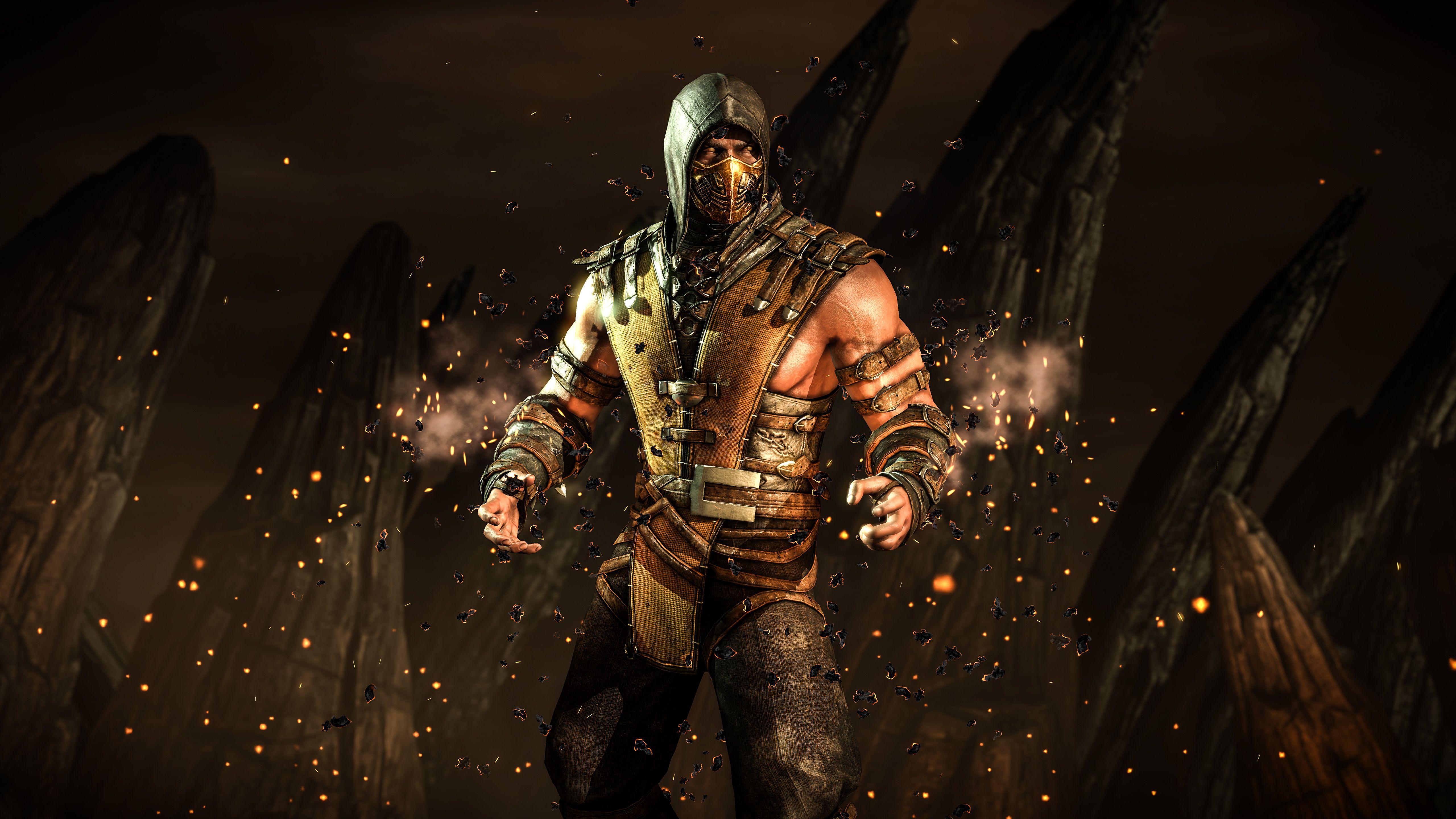 Mortal Kombat X Scorpion Hellfire 4k Wallpaper ซาม ไร ศ ลปะร ปกะโหลก