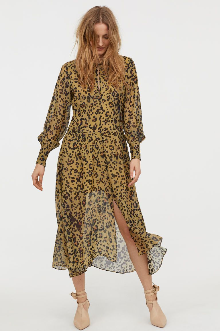 Leopard Print Silk Dress Olive Green Leopard Print Ladies H M Us Silk Print Dress Zebra Print Dress Fashion [ 1152 x 768 Pixel ]