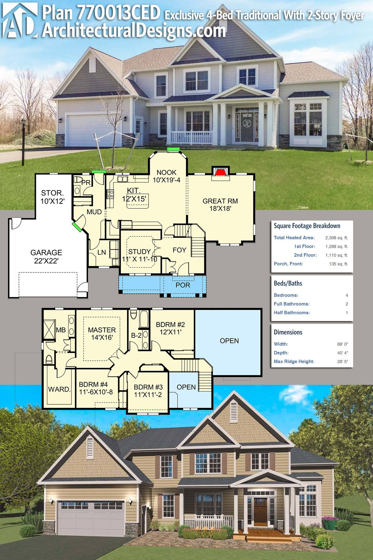 Plan 770013ced Exclusive Traditional With Two Story Foyer And Great Room Exclusive House Plan House Plans House Blueprints