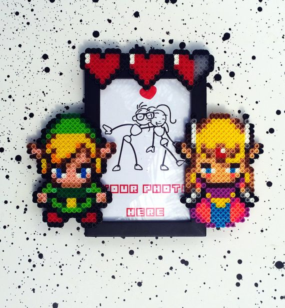Hey, I found this really awesome Etsy listing at https://www.etsy.com/listing/202572817/link-and-zelda-perler-photo-frame