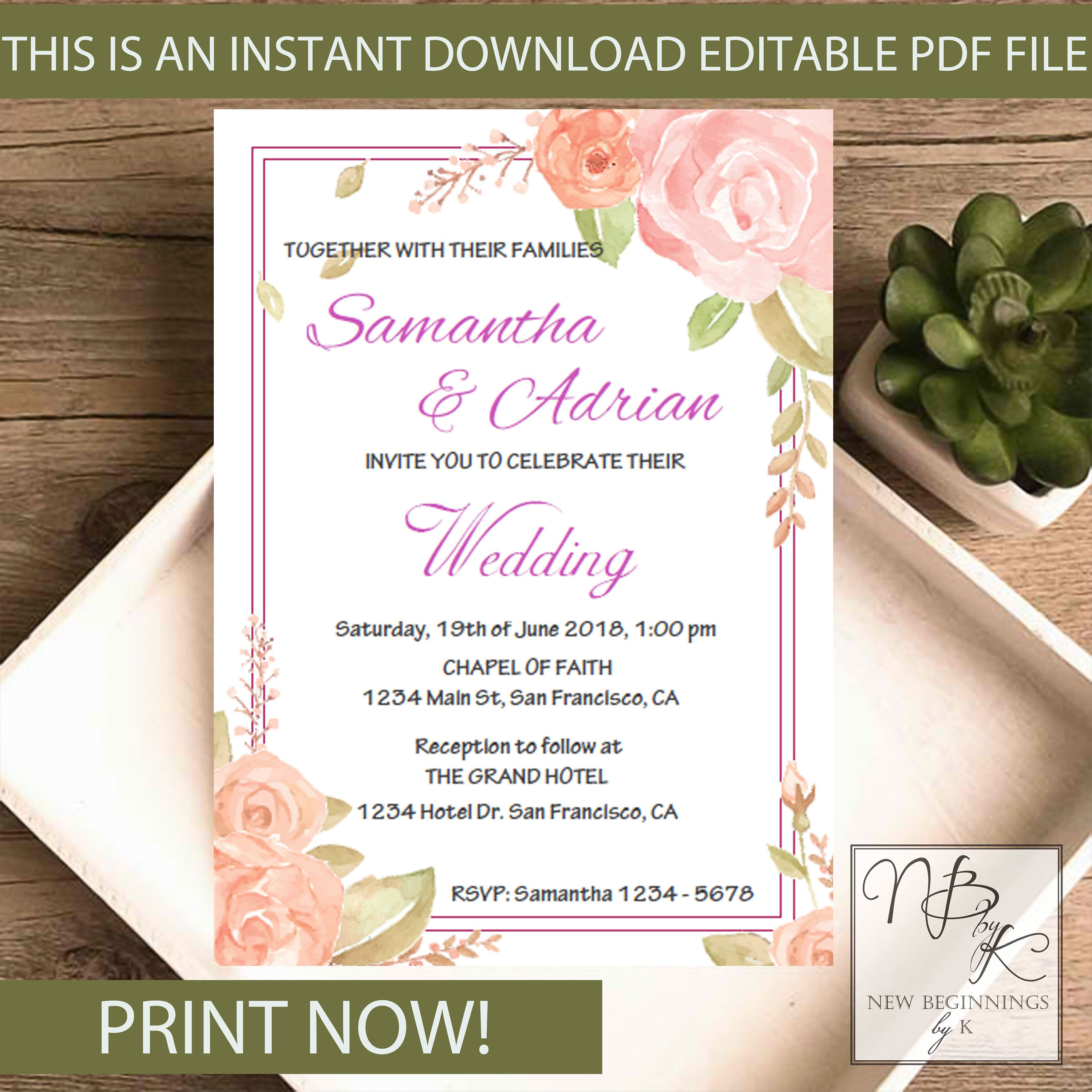 EDITABLE Rustic Floral Wedding invitation with lace and pearls ...