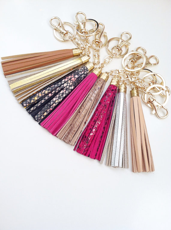53be81478ce8 Genuine Leather Keychains   Bag Charms Tassels - For keys or purses Coach  JCrew Inspired