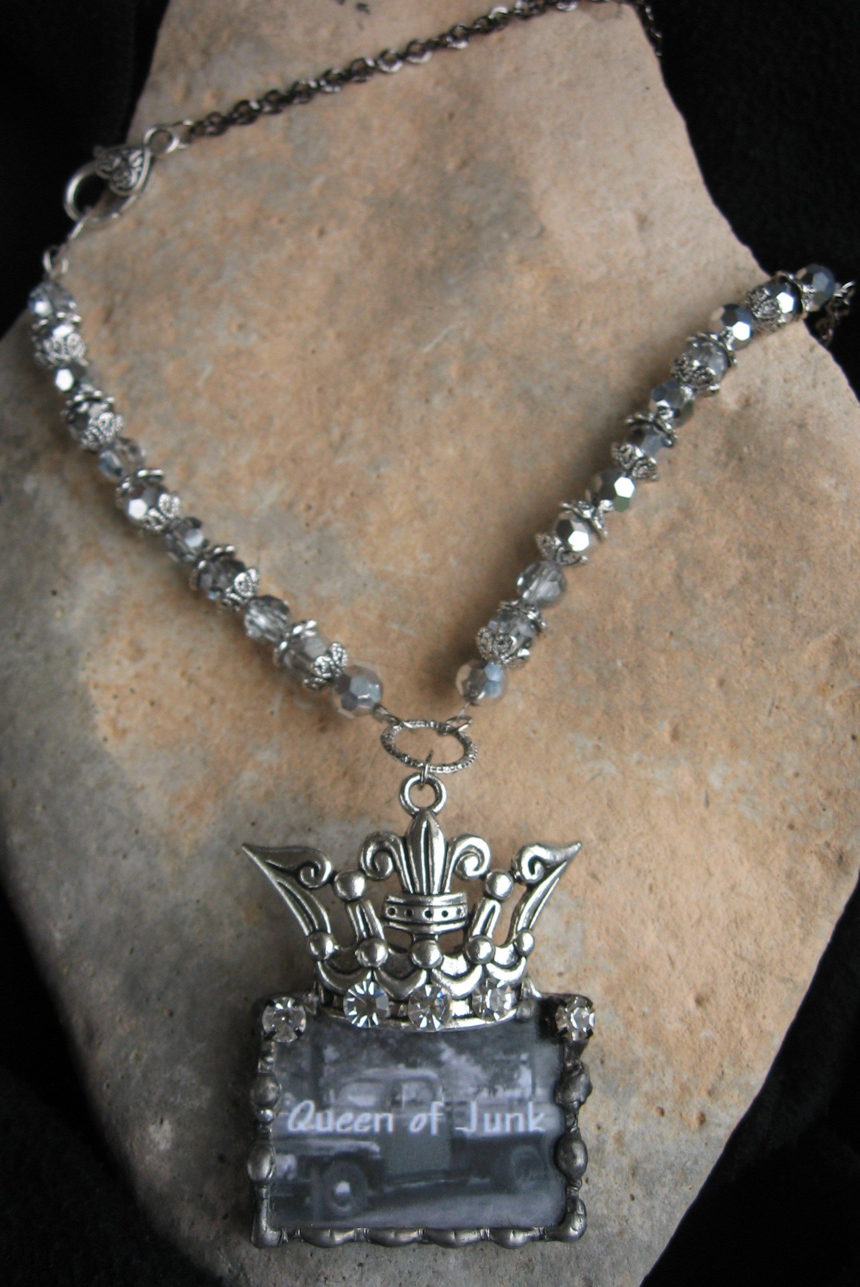 Queen of Junk...LOVE this big chunky pendant/necklace! www.nanettemc.etsy.com