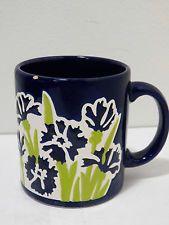 Vintage Blue Floral Ceramic Coffee Mug Waechtersbach West Germany