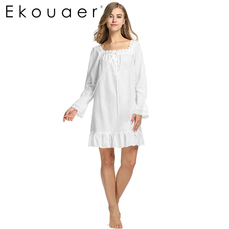 e29d979b5bc White Sleepwear Sleep Dress Long sleeve Women Cotton Nightgowns Sexy Long  Robe Home Dress Nightdress Summer wear