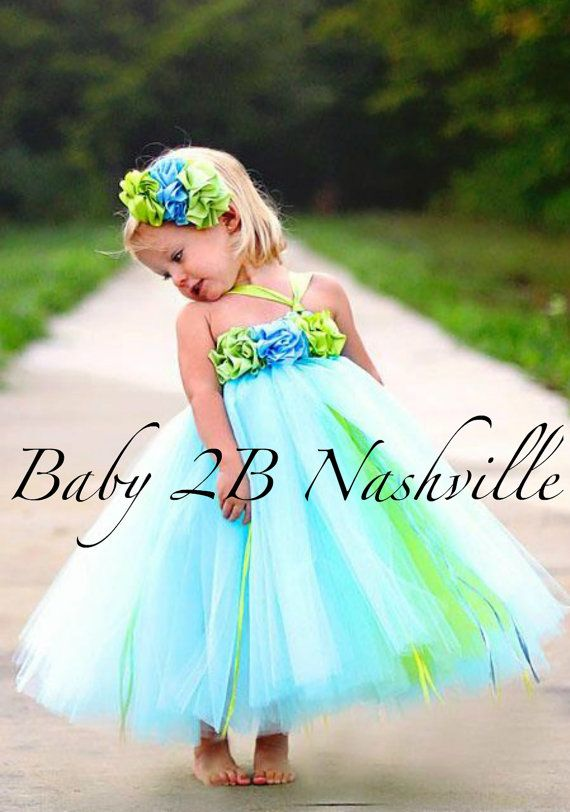 Tulle Flower Girl Dress in Blue and Lime 56T by Baby2BNashville, $98.00