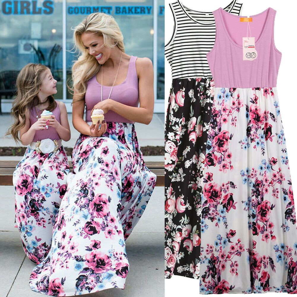 Family Matching Outfits Mother Daughter Clothes dress Long Maxi Floral Dresses