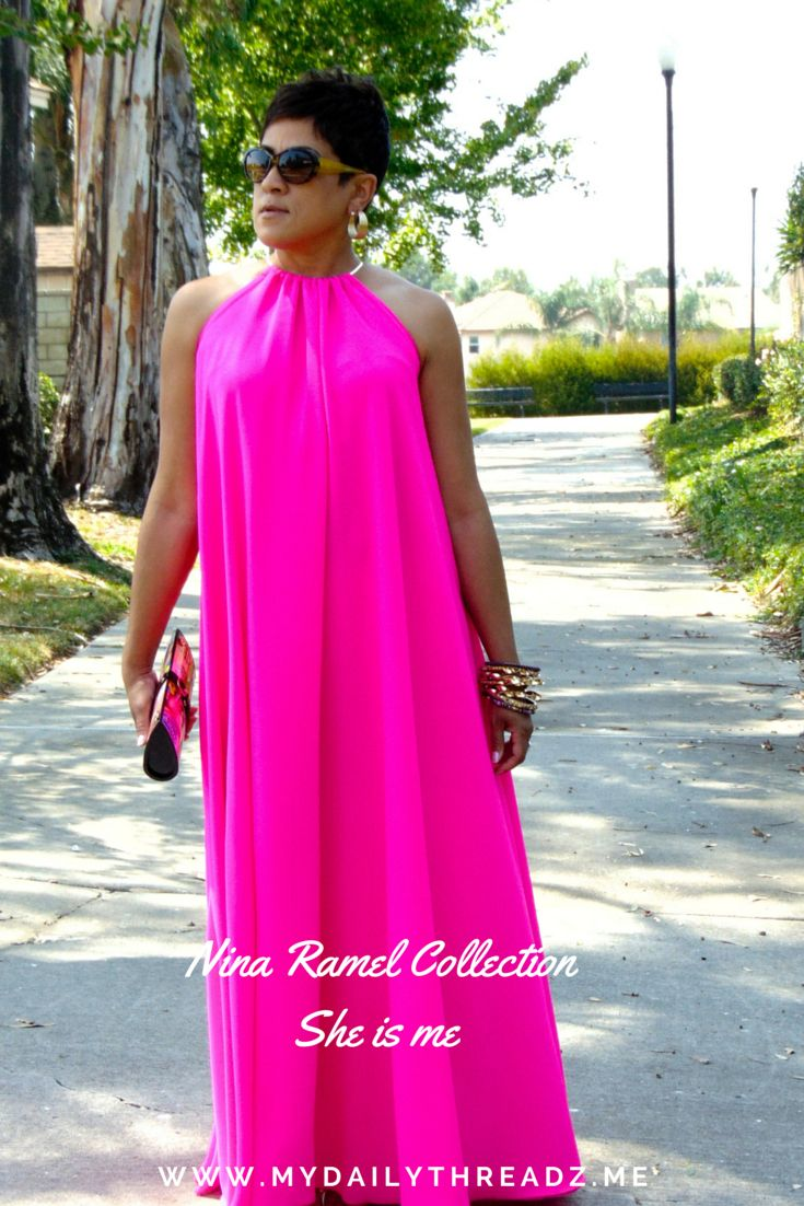 Love this pink floor length halter dress! | Fashion Forward ...