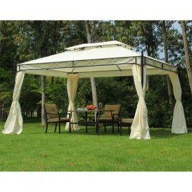 carpa blanca 3x4m pabellon cenador de jardin con cortinas blanca
