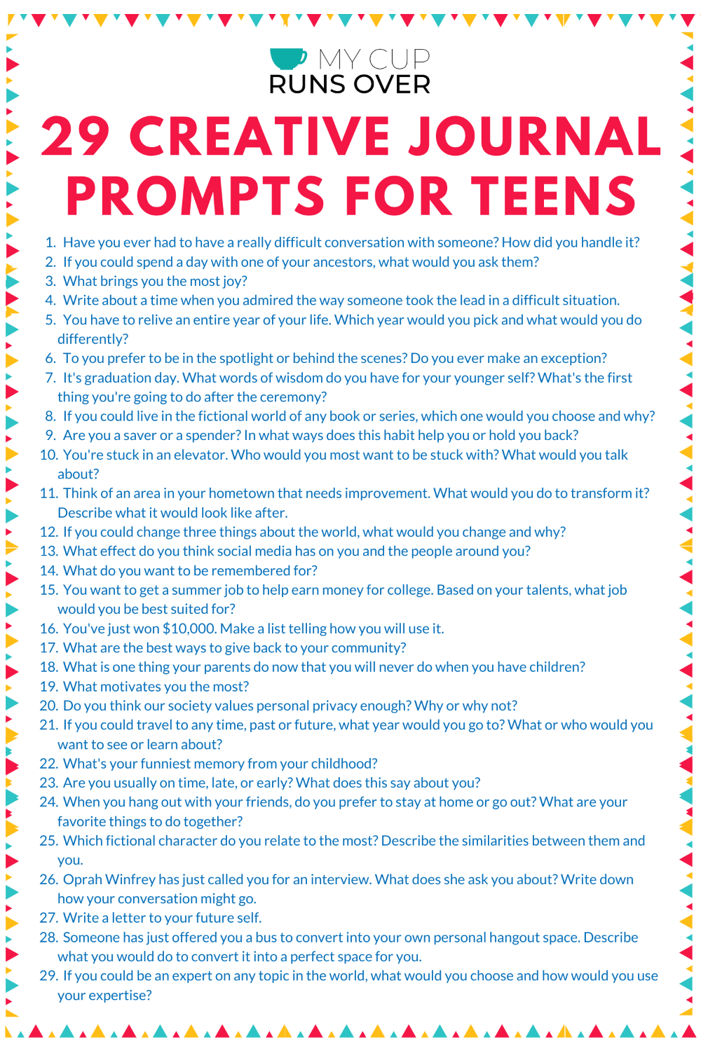 29 Creative Journal Prompts for Teens: Fun Prompts to Get Them Writing
