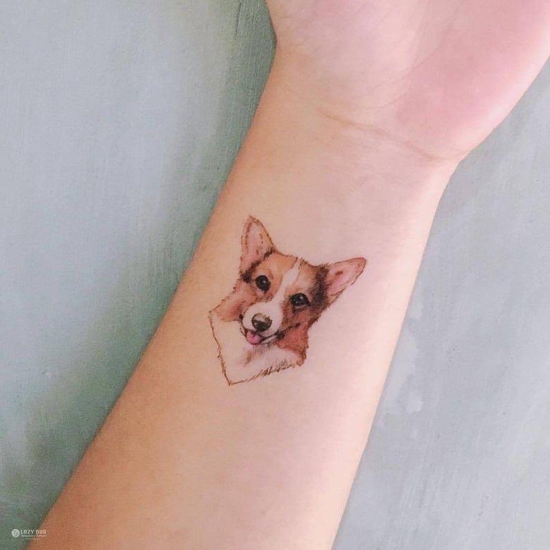 Animal Watercolor Temporary tattoo Stickers Corgi tattoos Chow | Etsy