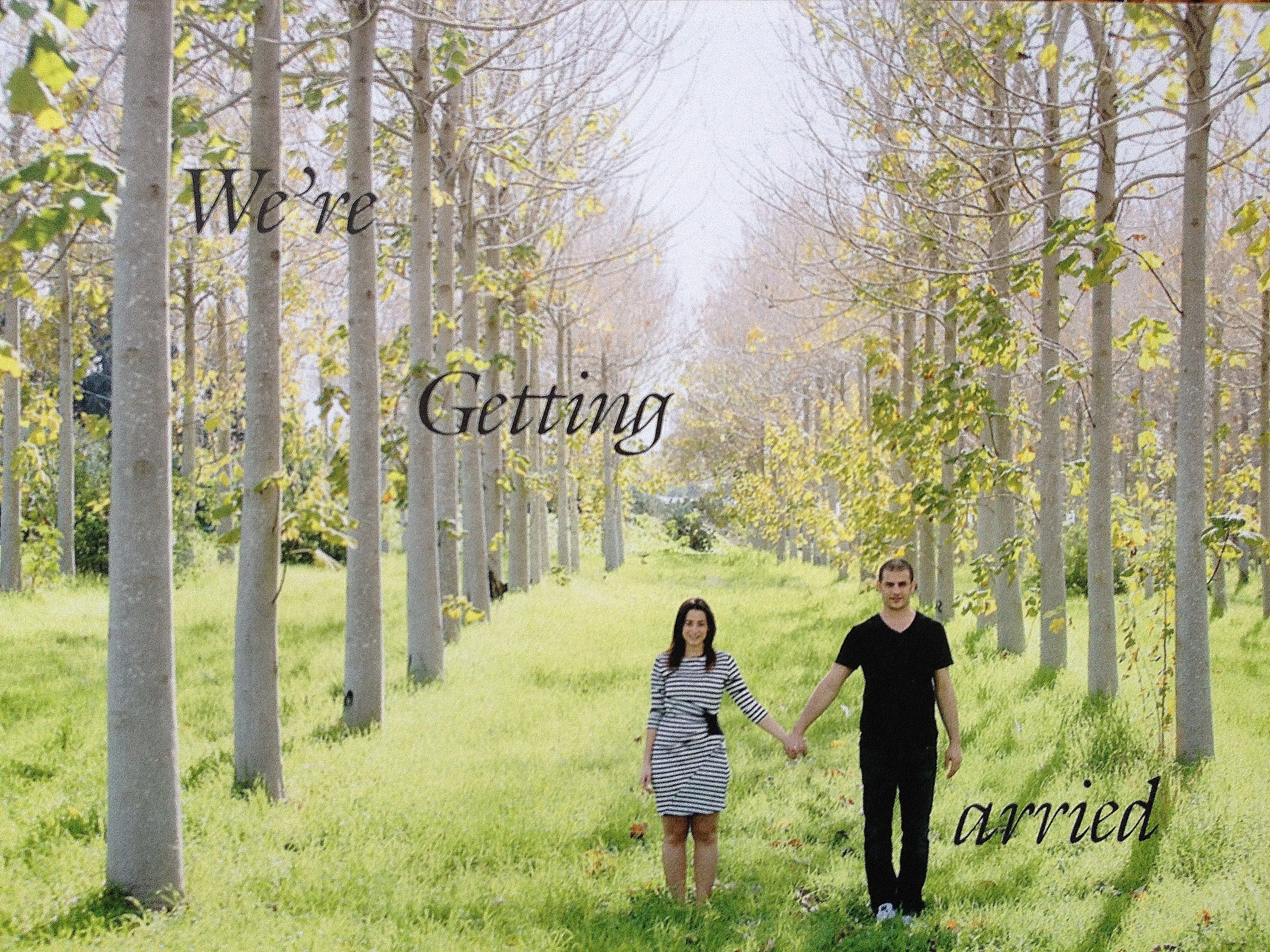 The Front of our wedding invitation. Picture was taken on a kibbutz in Israel. Yes, this is a real place!