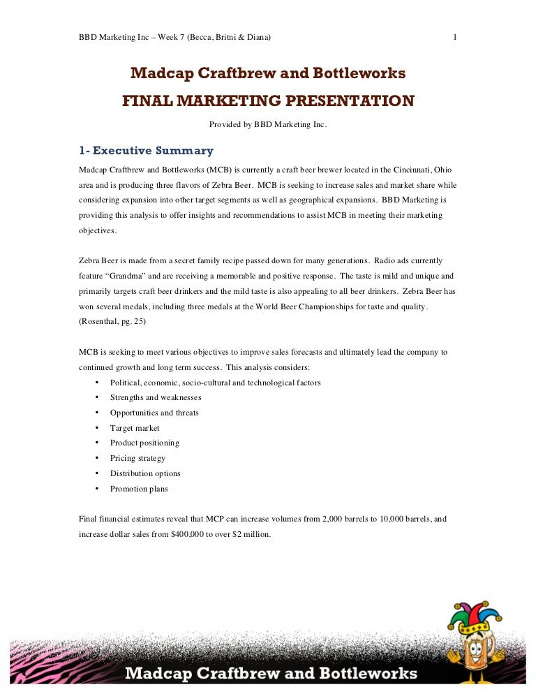 An MBA project in which 3 students developed a marketing