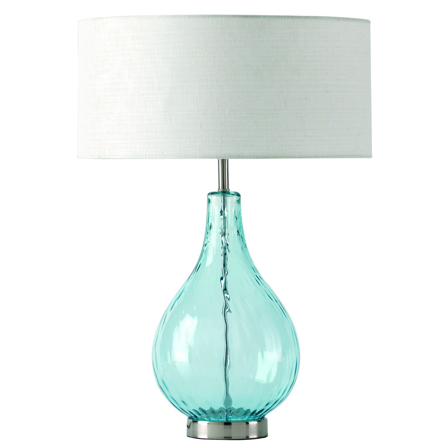 This Attractive Lucy Table Lamp Features An Aqua Glass Base