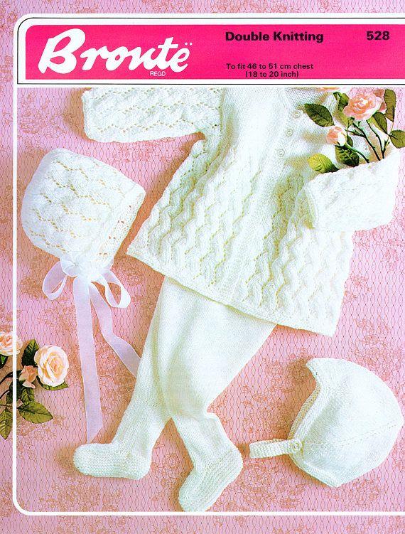 89b5fc0ff PDF Vintage Baby Knitting Pattern Lacy Pram Set Leggings