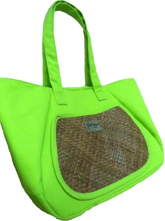 Neon Green Tote with Front Pocket