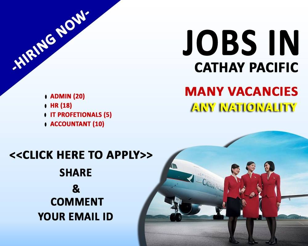 Cathay Pacific Careers Various Sector Jobs Available Click Here To Apply Airline Jobs Cathay Pacific Job