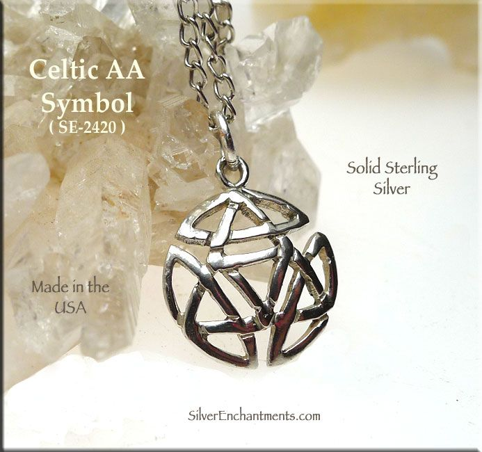 Sterling Silver Celtic Alcoholics Anonymous Necklace Recovery