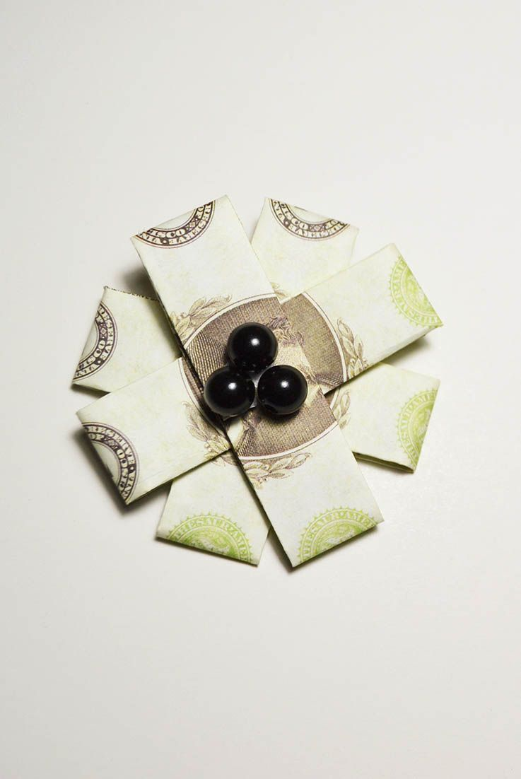 Simple Money Flower Origami 4 Dollar Bills Folded Tutorial Diy A