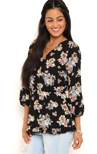 Floral Tunic Top with Ruffle Hem