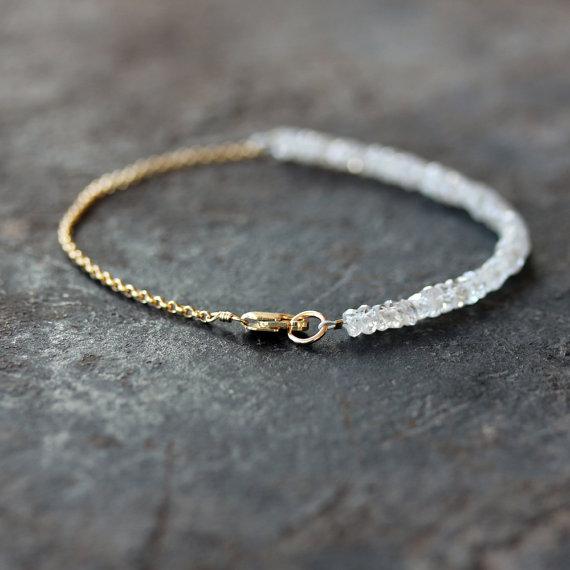White Gemstone Beaded Bracelet Bridal Jewelry Zircon #gemstonejewelry