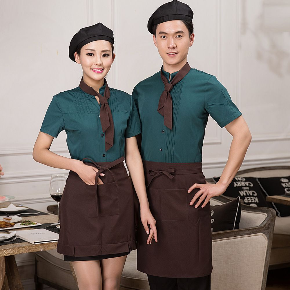 New Design Restaurant Waitress Waiter Uniforms Cook Clothing Short Sleeve Workwear Men Women