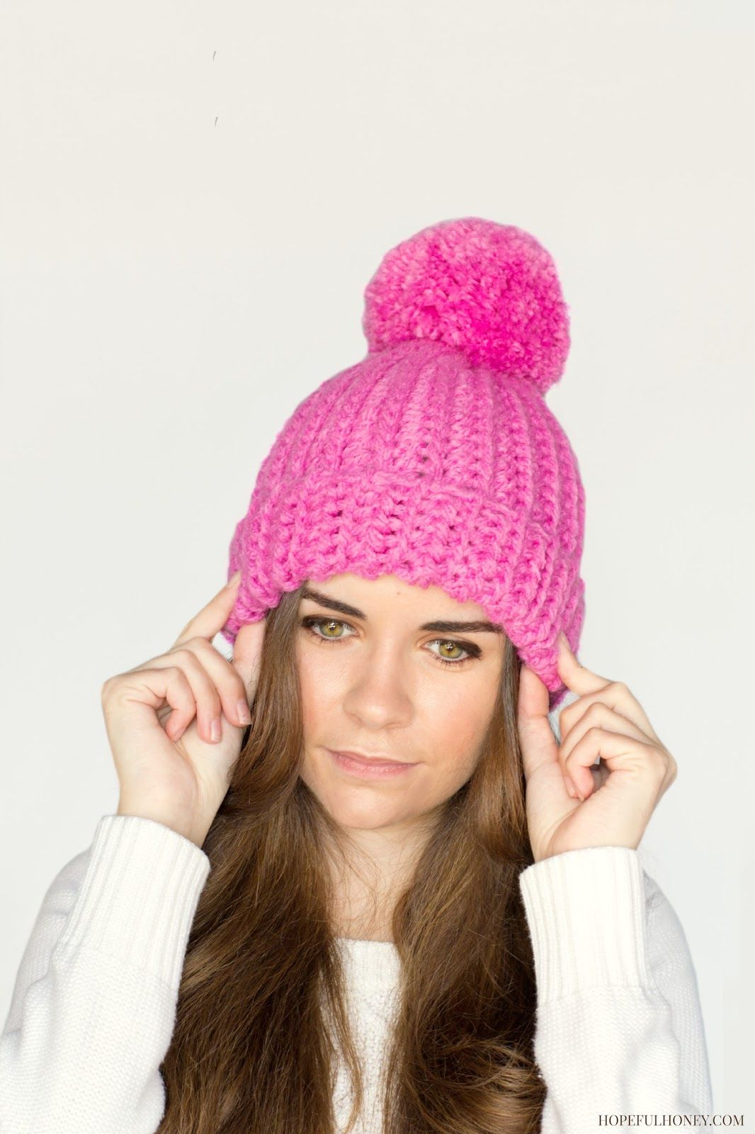 Hopeful Honey  Classic Bubblegum Pompom Hat - Free Crochet Pattern by  Olivia Kent. 7c658b5f2e5