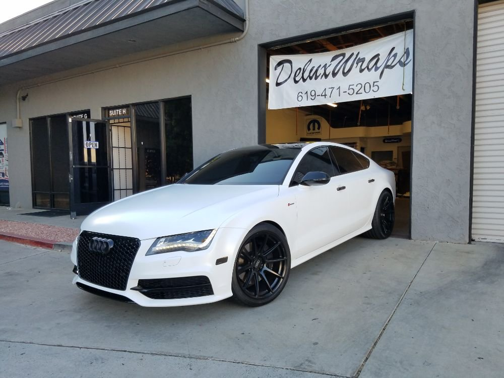 Audi A7 Wrapped In Avery Satin White With Avery Gloss Black Roof Handles And Mirrors Yelp Black Audi Audi Audi A7