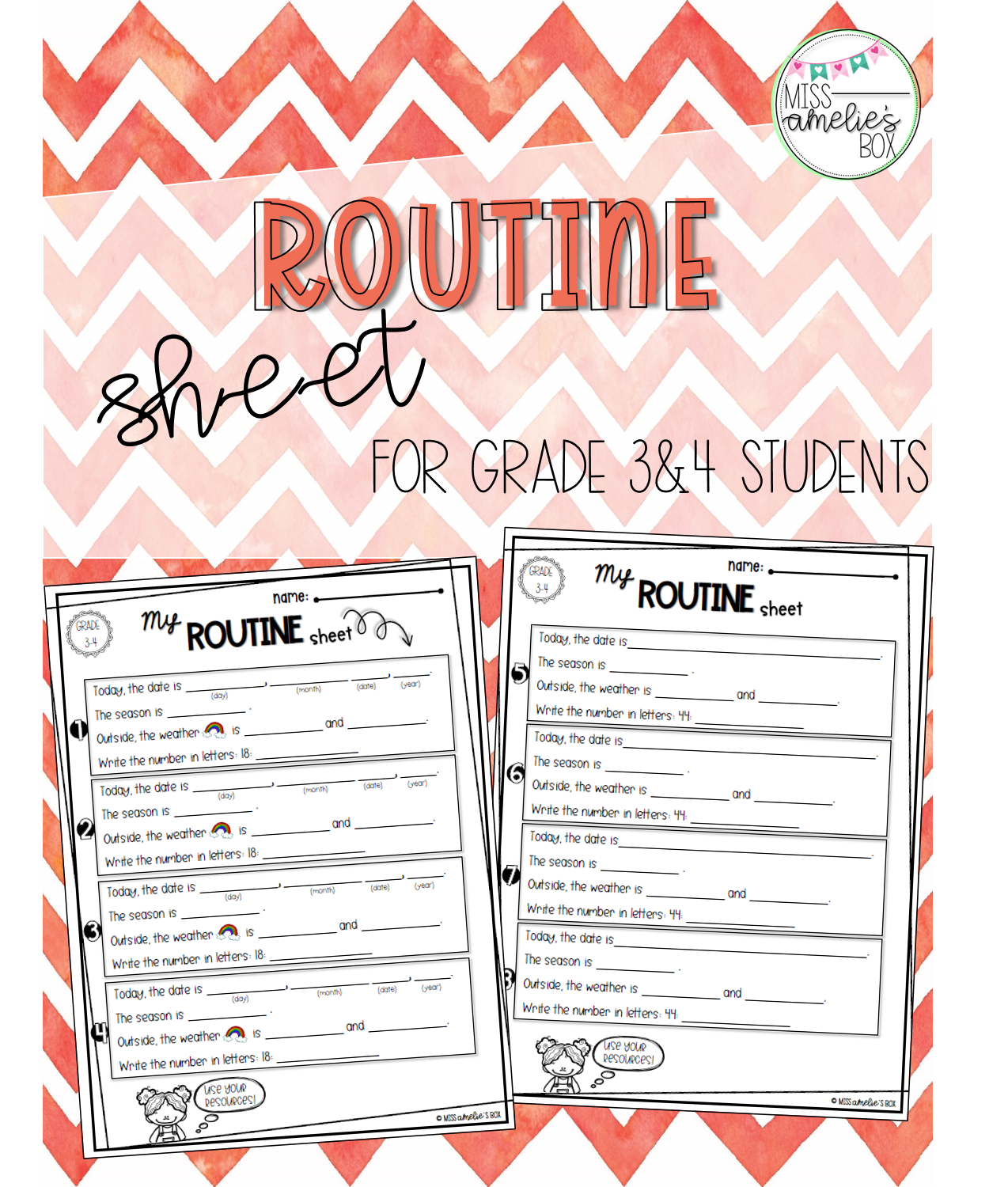 Routine Sheet For Cycle 2 Students