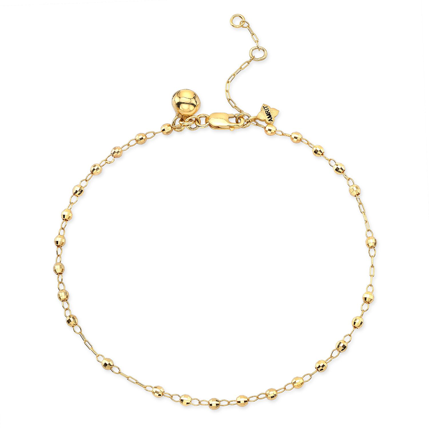 bell small faceted anklet yellow ball pin chain with balls gold solid